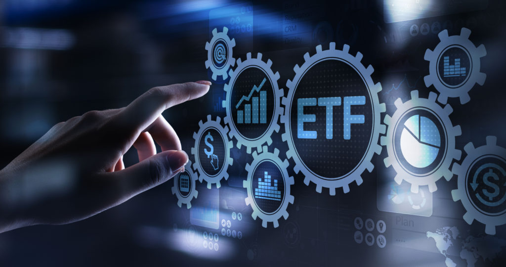 ETF Exchange traded fund Trading Investment Business finance concept on virtual screen