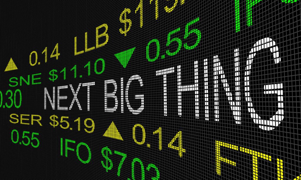 Next Big Thing Stock Market Ticker IPO 3d Illustration