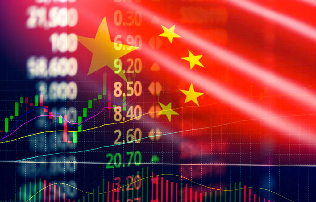 China stock market exchange / Shanghai stock market analysis forex indicator of changes graph chart business growth finance money crisis economy and trading graph with China flag