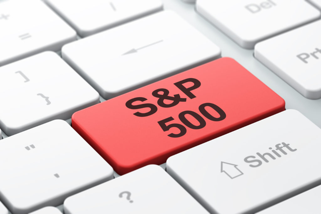 Stock market indexes concept: computer keyboard with word S&P 500, selected focus on enter button background, 3D rendering