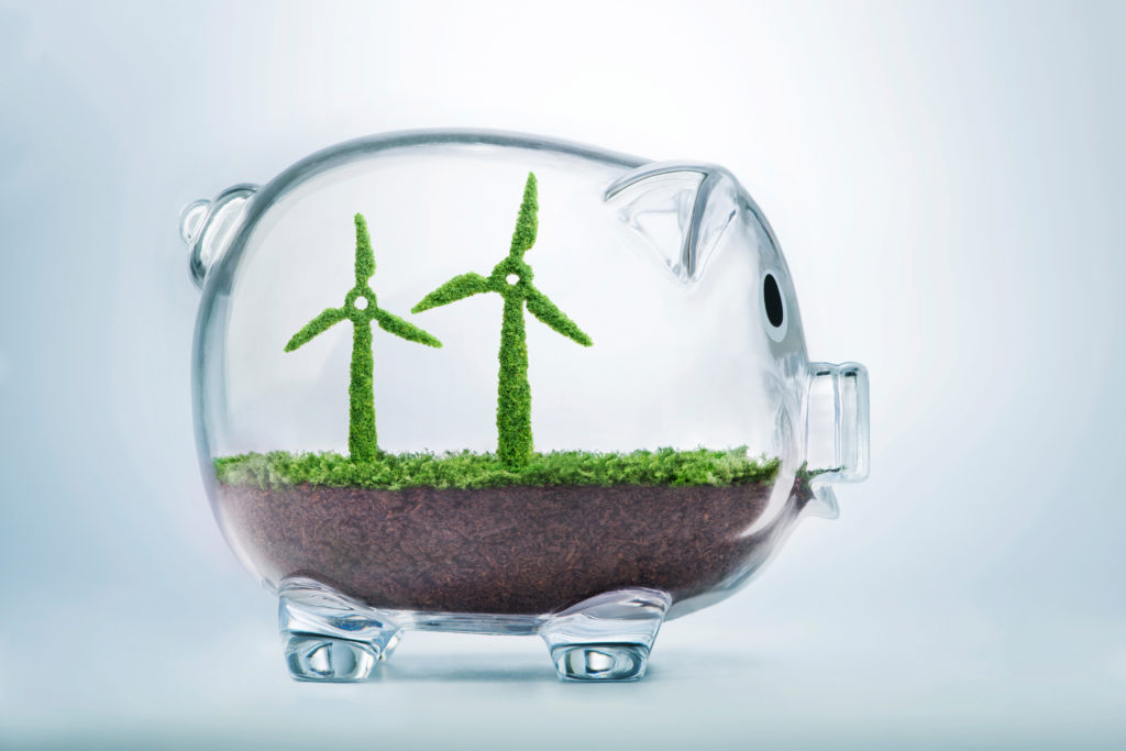 Grass growing in the shape of two wind turbines, inside a transparent piggy bank, symbolising the need to invest in the protection of the environment and to reconnect with nature.